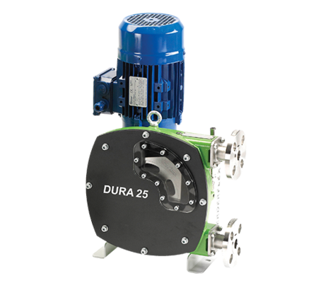 The innovative hose pump is highly compact and easy to maintain. Its unique design reduces the footprint by up to 70% compared to conventional peristaltic pumps. The Dura range performs exceptionally well with abrasive slurries, dry running liquid feeds, shear sensitive polymers, high viscosity sludge and dosing applications.