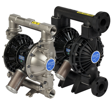 The VA industrial range really does set the benchmark for air diaphragm pumps.  The range features fast-acting air valve technology – eliminating wasted air and using all of the air for moving the fluid. The efficient use of air reduces the total amount of air consumption for a given quantity of fluid – reducing the energy cost.  Available in metallic and non-metallic construction with many different wet-side materials, the VA range is compatible with chemically-aggressive and abrasive media. The range features bolted chambers for safe operation, rugged mountings to limit vibration.