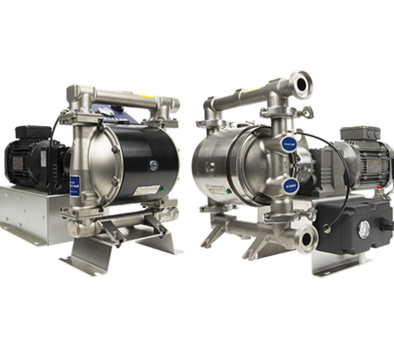 """The Verderair EODD is an electric driven diaphragm pump,but with all the benefits of a AODD. The VA EODD is available in a standard and a HI-CLEAN version. With the wide range of different materials forpump body, valve seats, valve balls and diaphragms, this pump is the ideal problem solver in a wide range of applications across many industries.The VA EODD can run dry, can run against a closed discharge without damage and can run in a """"low pulsation"""" mode to reduce the generated pulsations."""