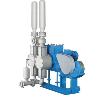 Hydraulic diaphragm pumps Verderbar HM with a control device of a balanced positioning of the membranes. When suction or final stroke, membranes do not go through peaks pressure.