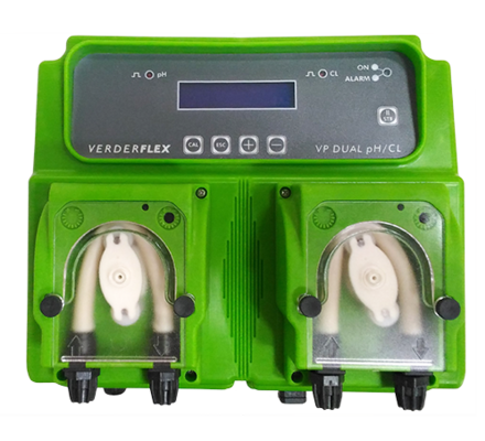 The Dual series of pumps in Verderflex range, offer a compact all in one solution for monitoring water parameters like pH, Redox, Chlorine and T° via a built in instruments and peristaltic pumps to adjust those parameters. The VP DUAL series of pumps offer a wide degree of settings to the installer and are easy to program and mantain.